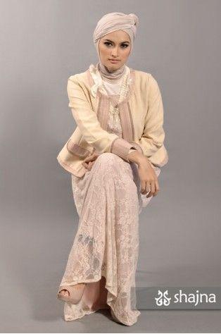 shajna   SK331B - BABY-PINK JERSEY-LACE DRESS   #hijab #hijabi #hijabstyle #modesty #muslimah #turban