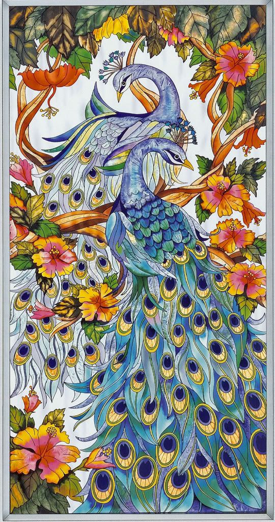 peacock and angels pictures | Two Magestic peacocks are surrounded with colorful Hibiscus Flowers.