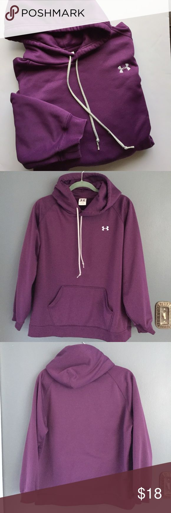 Under Armour Hoodie 🍆 Women's Under Armor Hoodie in purple!  UA's women's hoodies & sweatshirts are ready for anything, so you can be, too. Lightweight, comfortable & warm! ☔️ Excellent condition! Size XL. Under Armour Tops Sweatshirts & Hoodies