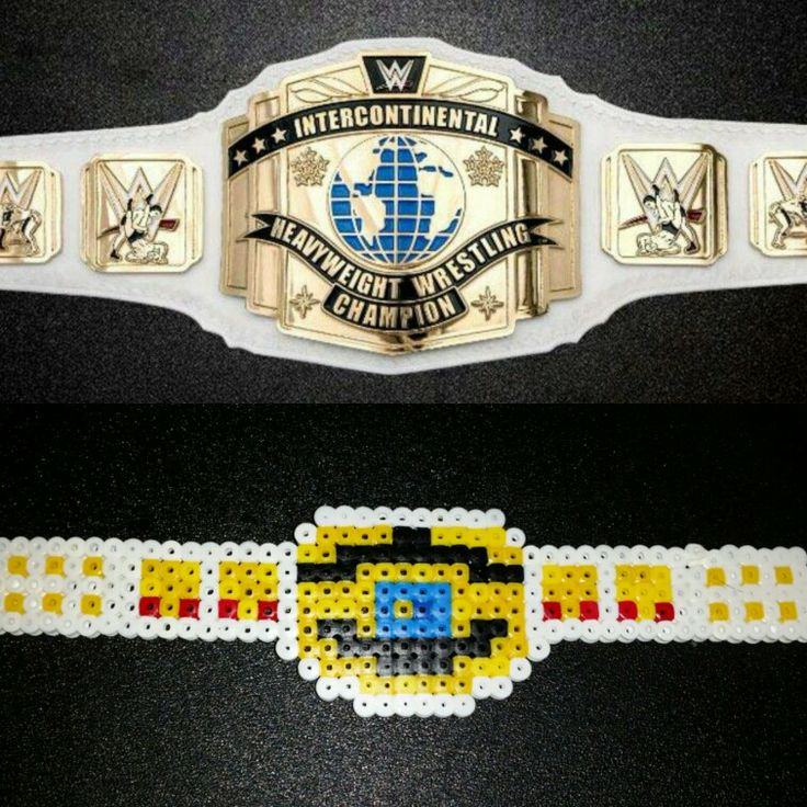 My First attempt at melting perler beads. wwe intercontinental championship.