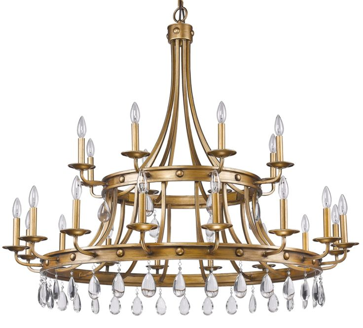 Define An Area Of Interest In Your Living Room By Choosing This Acclaim Lighting Krista Light Indoor Antique Gold Chandelier With Crystal Pendants