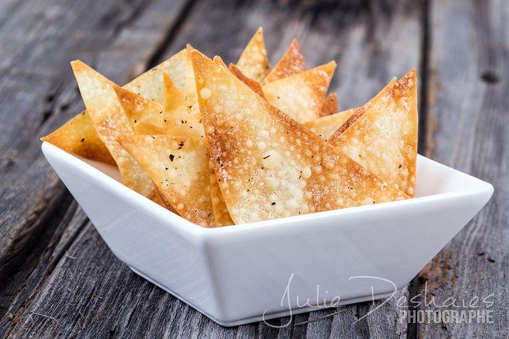 Chips de wontons #wonton #chip #baked #croustilles #cuisine #food #recette