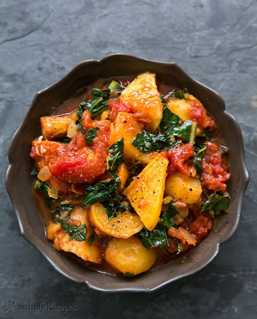 Roasted Root Vegetables with Tomatoes and Kale Recipe | Simply Recipes