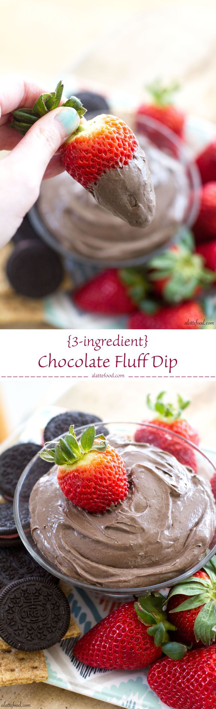 {3-ingredient} Chocolate Fluff Dip | {3-ingredient} Chocolate Fluff Dip: This easy appetizer dip is made with only 3 ingredients and tastes like gold. Its the best.