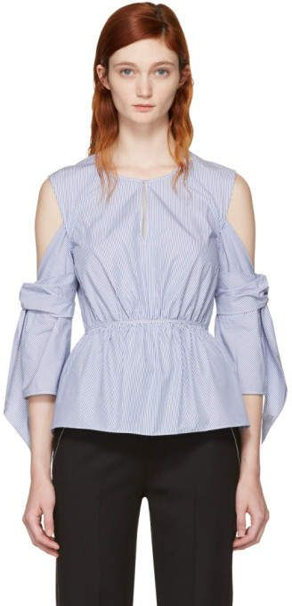 cd2018009999a6 3.1 Phillip Lim Blue and White Striped Cold Shoulder Blouse Plus Size  Women s Cold Shoulder Tops