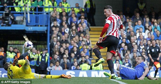 Conor Wickham lifts the ball over Petr Cech to score against Chelsea at Stamford Bridge in April 2014