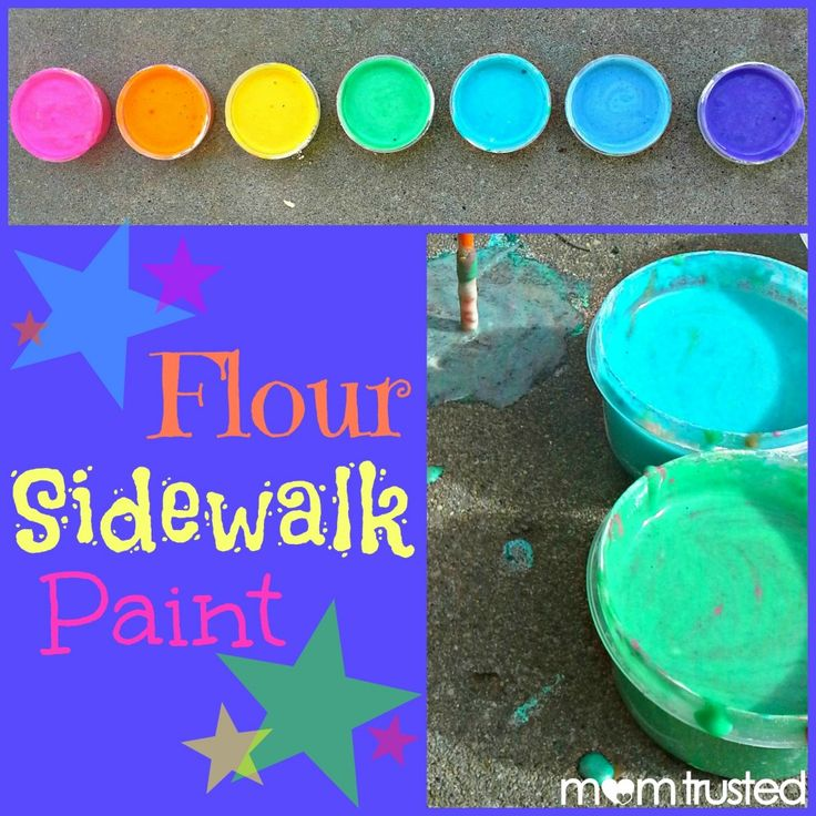 Sidewalk paint made with flour...go to website for instructions...