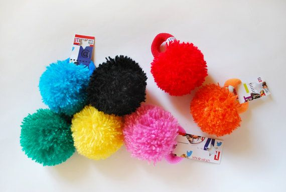 UTHA green pompom hair bobble / hair accessories/ by UTHAhats, $11.00