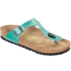 Birkenstock Gizeh Menta Shiny Antique Leather  Upper material: Leather — Thick and supple leathers without additional dyes to keep the leather breathable, durable and comfortable.    Footbed: The original Birkenstock footbed - Featuring pronounced arch support, a deep heel cup and a large toe box. Covered with a suede liner, this footbed molds and shapes to your foot.     Sole material: EVA - Flexible, durable, lightweight, shock resisting material.  $124 at www.applesaddlery.com