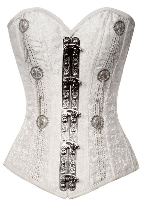 Brocade White Steampunk Corset with Silver Beading