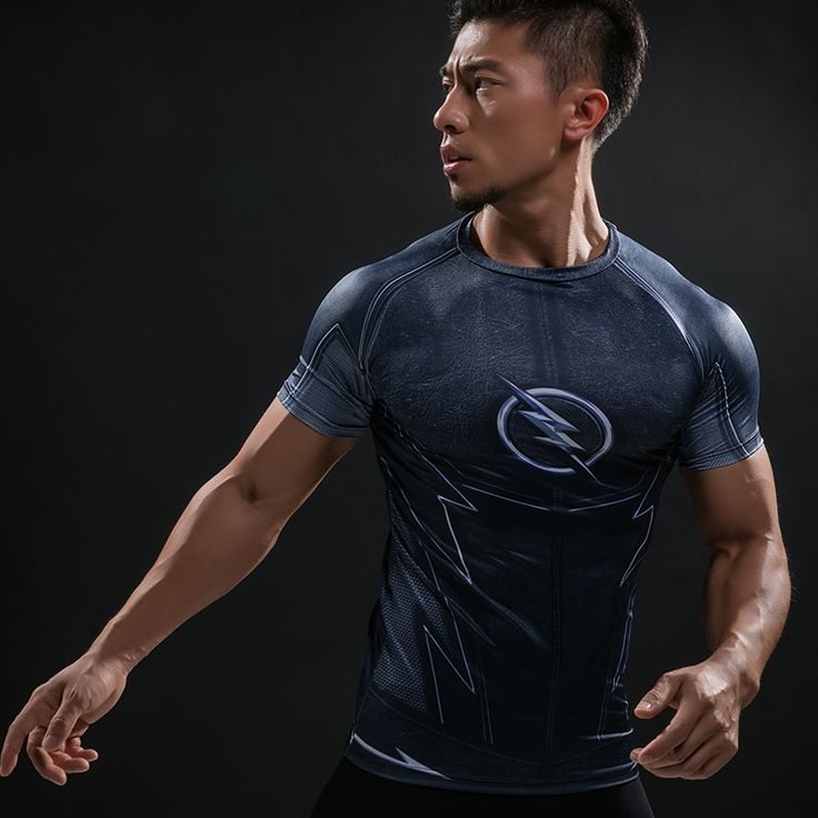 nice Rashguard Short Sleeve Tee Shirt Crossfit Zoom Flash DC Armor Gear  -  This t-shirt looks like natural superhero gear! Fits perfectlyrash guard tee shirtis ideal for sport and daily usage. This shirt containslycra, which allows material stretch to the several sizes and comes back to normal size. Perfectly breathtissue, the color doesn't fade over time.