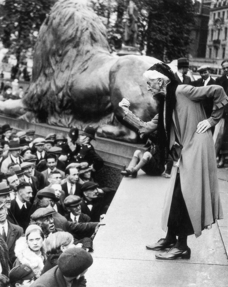 British suffragette Charlotte Despard addresses the crowd in Trafalgar Square during a Communist rally, Jun. 11, 1933