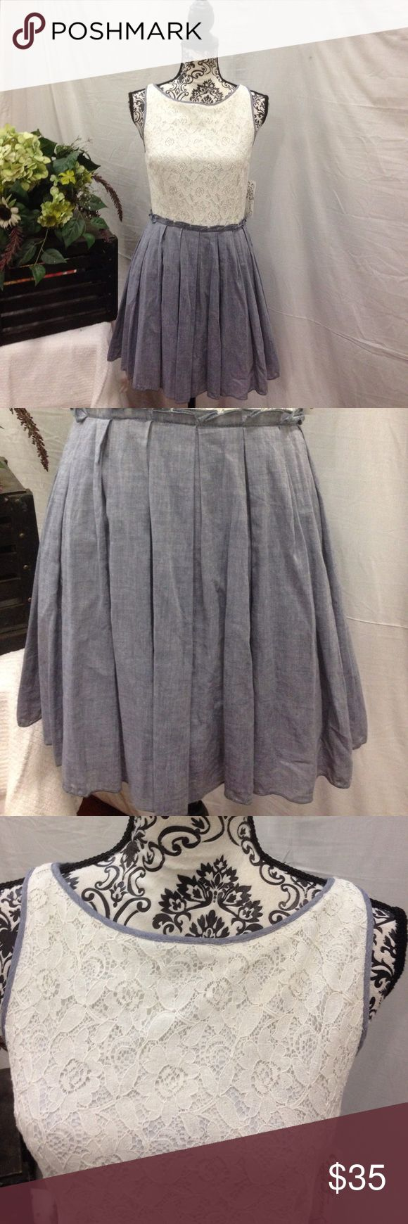 NWT Speechless Chambray & Lace Dress Speechless. New with tags. Lined. Chambray grayish blue and cream Lace. Zip up back. Size 9. Speechless Dresses Midi