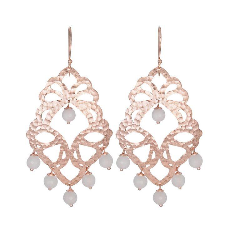 Nicole Fendel Elektra Statement Earrings - Rose Quartz - Rose Gold