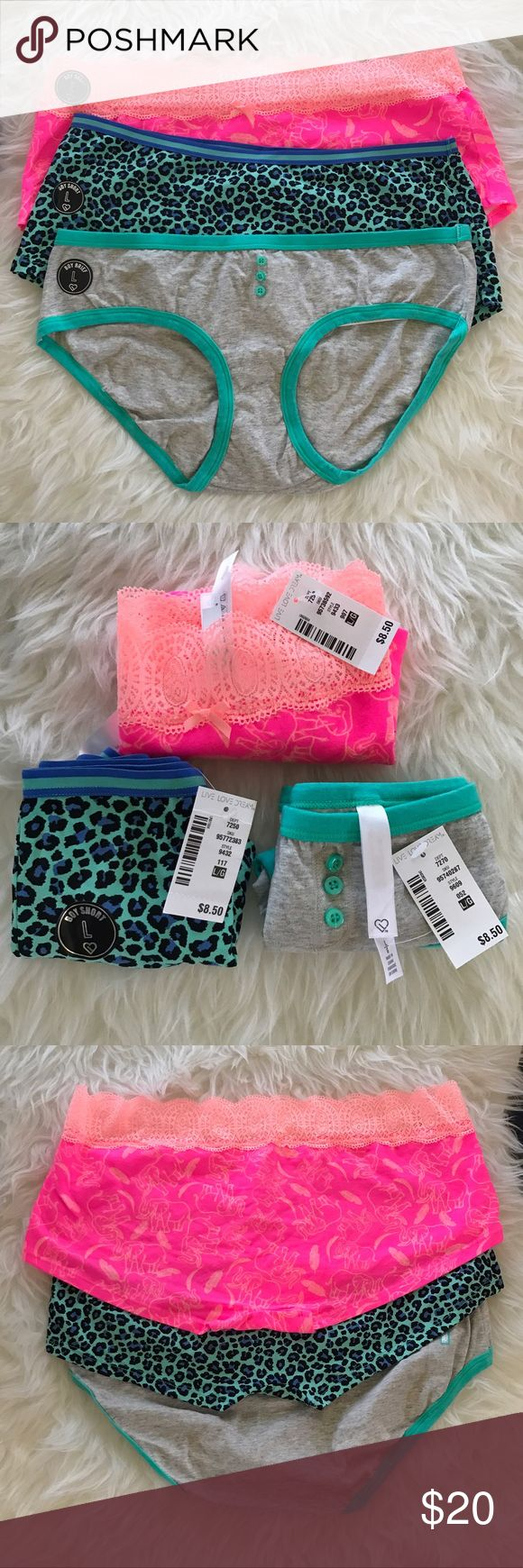 """3 Aeropostale Live Love Dream Panties Sz L NWT • Brand new w/ tags. • 3 cute Aeropostale brand """"Live Love Dream"""" panties • All Women's Size Large • All: 93% Cotton/ 7% Spandex. Lace band: 90% Nylon/ 10% Spandex                                                               • Green & Blue Leopard - Boy Short                  • Hot Pink/Coral Lace Elephants  - Boy Short    • Grey/ Teal w/ Button Detail - Boy Brief ✅Offers ✅Same/Next Day Shipping ✅Feel free to ask questions. :) 🚫No trades  🚫No…"""