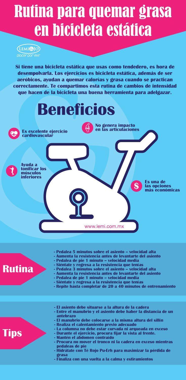 Rutina para quemar grasa usando la bicicleta estática. #deporte #perderpeso #infografia