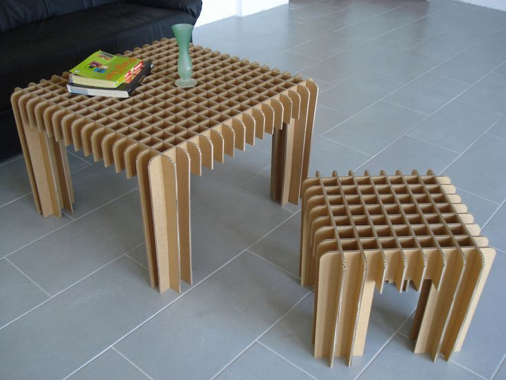 Recyclable Small cardboard coffee table and a small stool Design Ideas