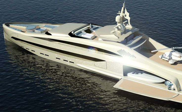 This beautiful yacht has a landing pad for your helicopter, storage for your luxury sedan, and another small boat.