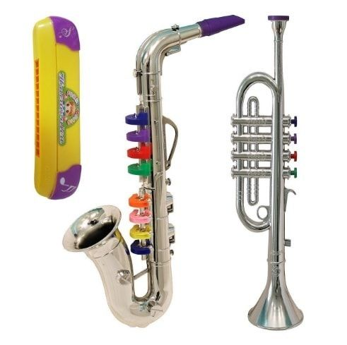 Kid Musical Instruments Toy Trumpet + Saxophone + Harmonica Toys for Toddlers - Musical Toys *Introduce your youngsters to the magic and wonder of music, easy for your child to learn playing first rules. Improving hand-eye-ear coordination at the same time.  http://amzn.to/2mP7MfH https://dashburst.com/michaela09/398