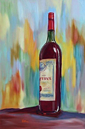 "Contemporary Artists of Georgia: Still Life Wine Bottle Oil Painting ""Petrus Wine 1982"" by Georgia Artist Pat Warren"