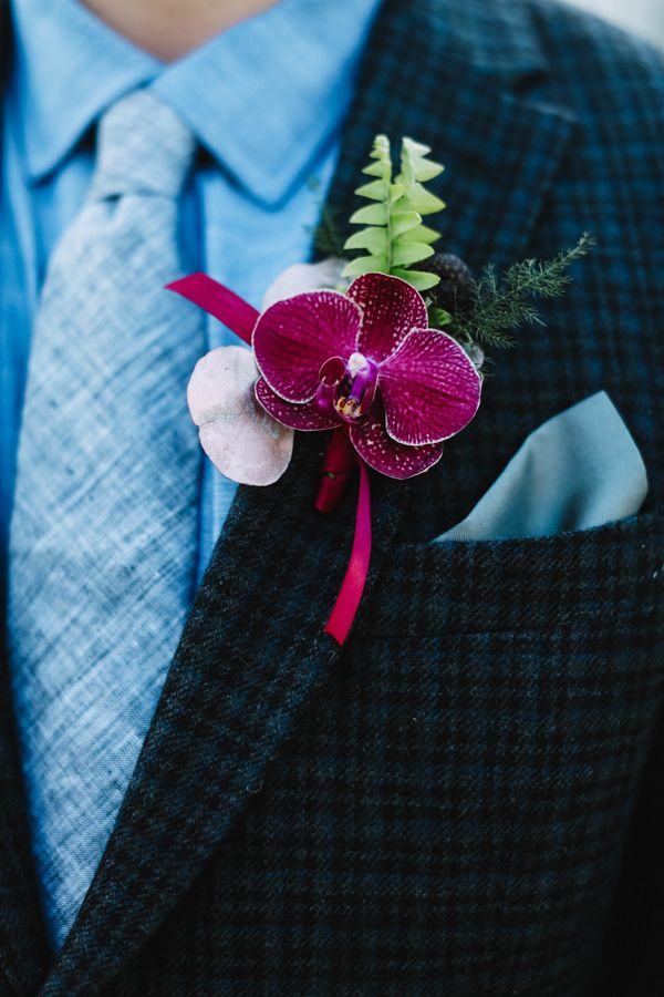 orchid boutonnieres - photo by J Woodbery Photography…