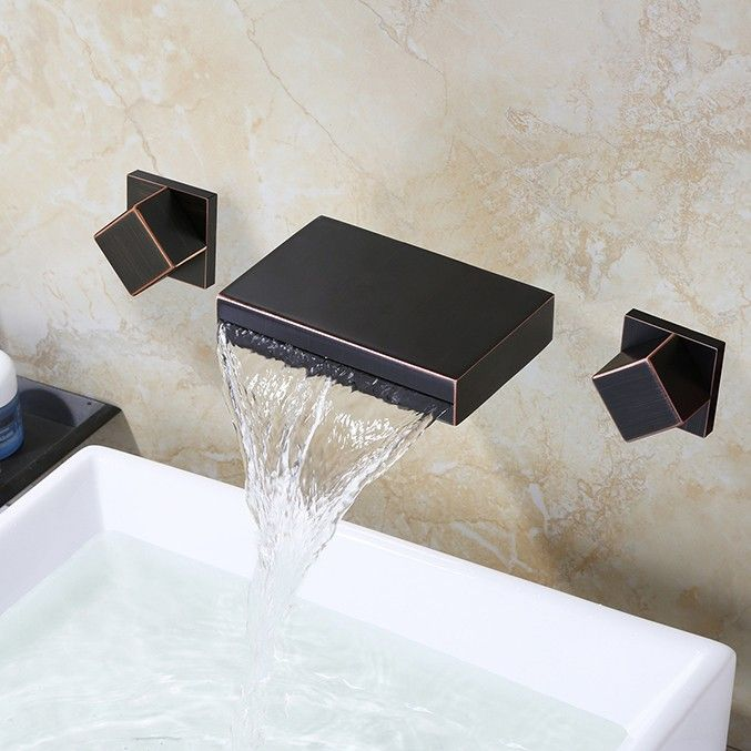 This antique black double-handle sink faucet will bring a rustic elegance to your bathroom. Sold at US$112.99.