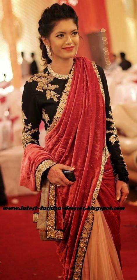 velvet half and half saree and black full sleeve blouse