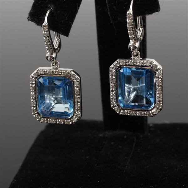 """White Gold 14K 585 Swiss Blue Topaz diamond halo drop earrings. 7.25 dwt 1/2"""""""