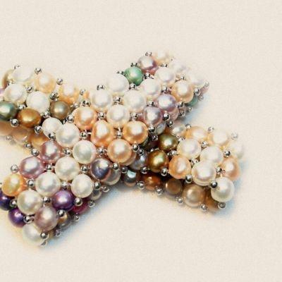 Brățară, perlă | Matilda Creations Făcut din: perlă, cu cauciuc, trei rânduri, cu rotund metal