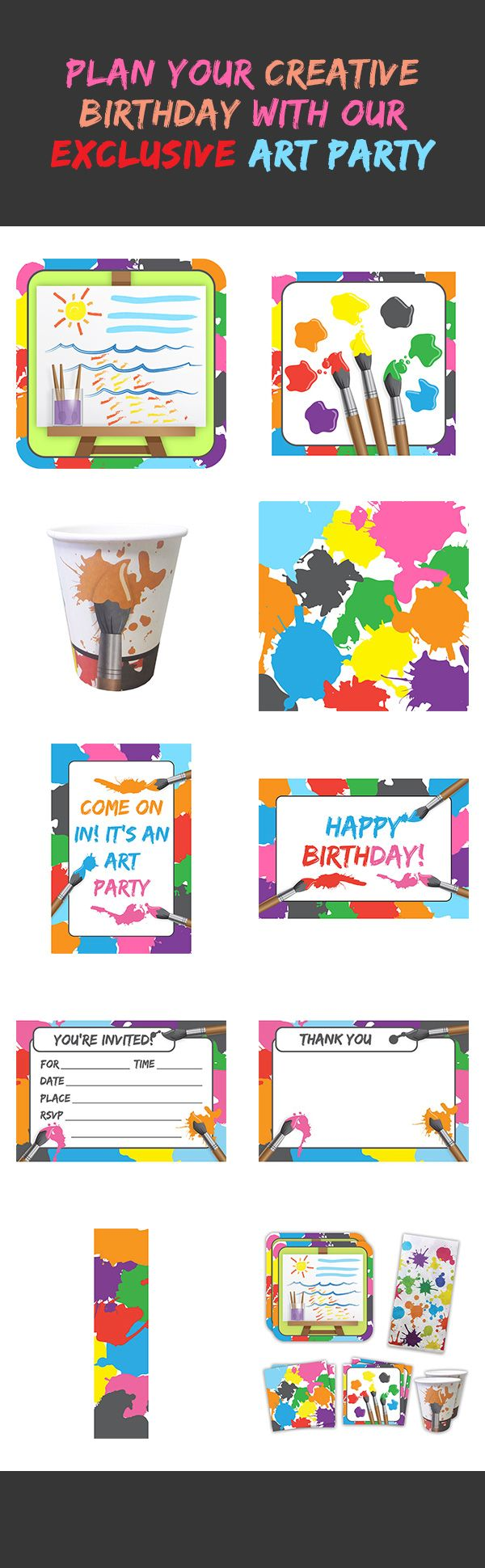 Create a party masterpiece with our newest exclusive Art Party line! This highly-popular theme includes tableware, party favors, decorations and more. Plan your party here: http://www.discountpartysupplies.com/girl-party-supplies/art-party-supplies?utm_source=Pinterest&utm_medium=Social&utm_content=art_party_party_supplies&utm_campaign=art_party_Promoted_Pin
