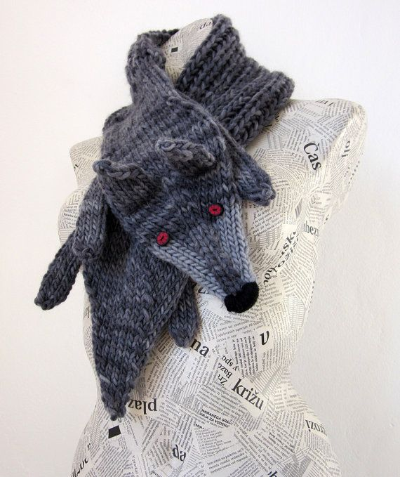 Hand knit wolf scarf in grey black with polymer clay by AmeBa77 very cool no pattern