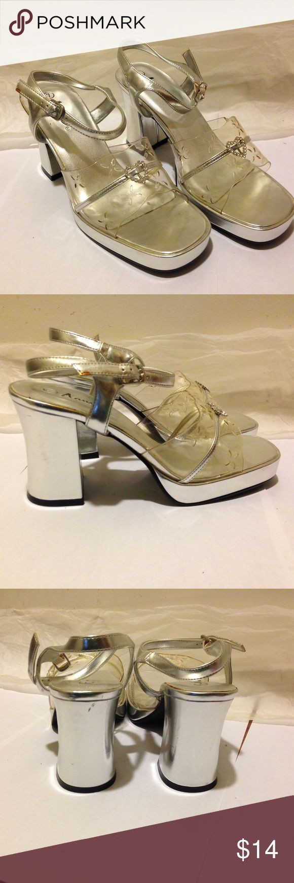 Silver chunky heels Never worn. Straight from the 90s. Shoes Heels