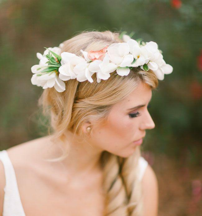 Wedding White Flower Crown: Travel-Inspired Bohemian Wedding: Kristin + James