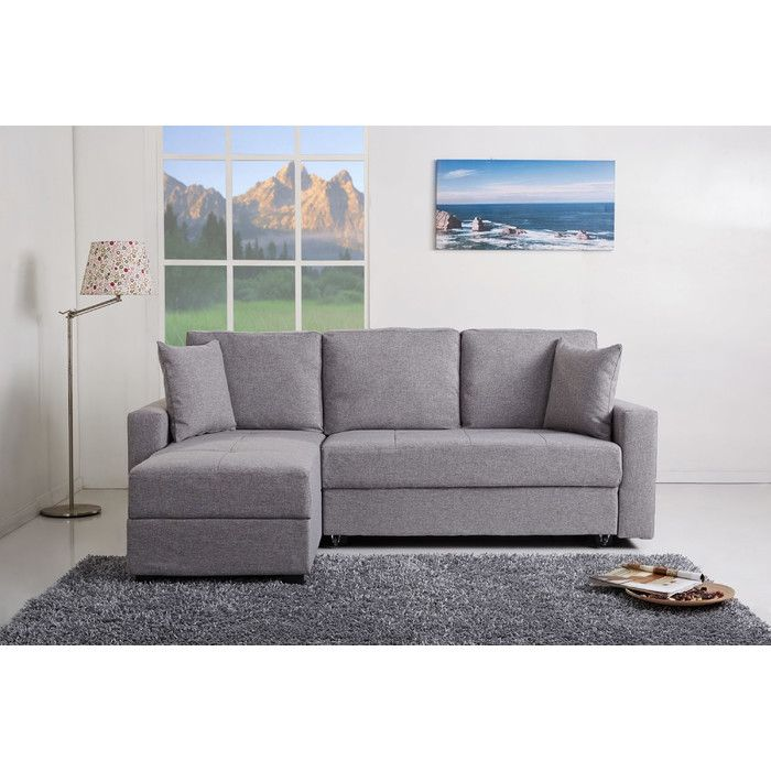 Go for a simple yet elegant modern look in your living room or den with this stylish convertible sectional sofa bed. This handsome fabric sofa with contemporary detailed stitching conveniently doubles as a bed for unexpected guests. European style with sleek design inspires a fresh look for your home. Sectional designed with maximum comfort in mind. Frames are made of durable tropical wood. This furniture features storage space beneath the seats and a sectional sofa that can easily converted…