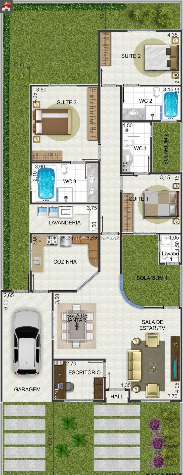 I like all the green space in this floor plan- 155.62m²