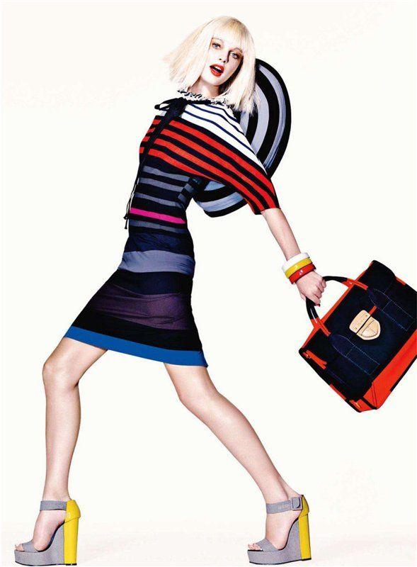 Magazine: Harper's Bazaar US April 2011 Editorial: Stripes Model: Patricia van der Vliet Photographer: Richard Burbridge  Stylist: Clare Richardson