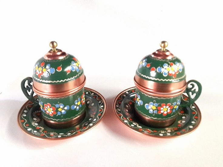 2 Pcs Ottoman Design Luxury Traditional Turkish Coffee  Handmade Copper Cups #Handmade #Turkish