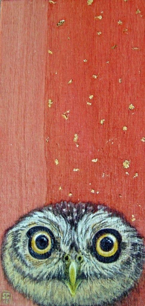 ✦ Gufo ✦  Acquerello, acrilico, matita, pastelli, foglia oro su compensato 6 x 12,5 cm - SC/16