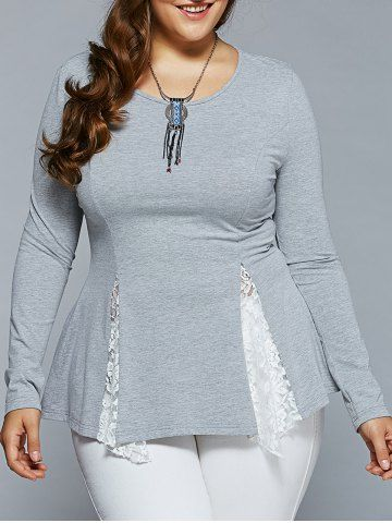 GET $50 NOW | Join RoseGal: Get YOUR $50 NOW!http://www.rosegal.com/plus-size-tops/plus-size-lace-insert-asymmetrical-722435.html?seid=6894622rg722435