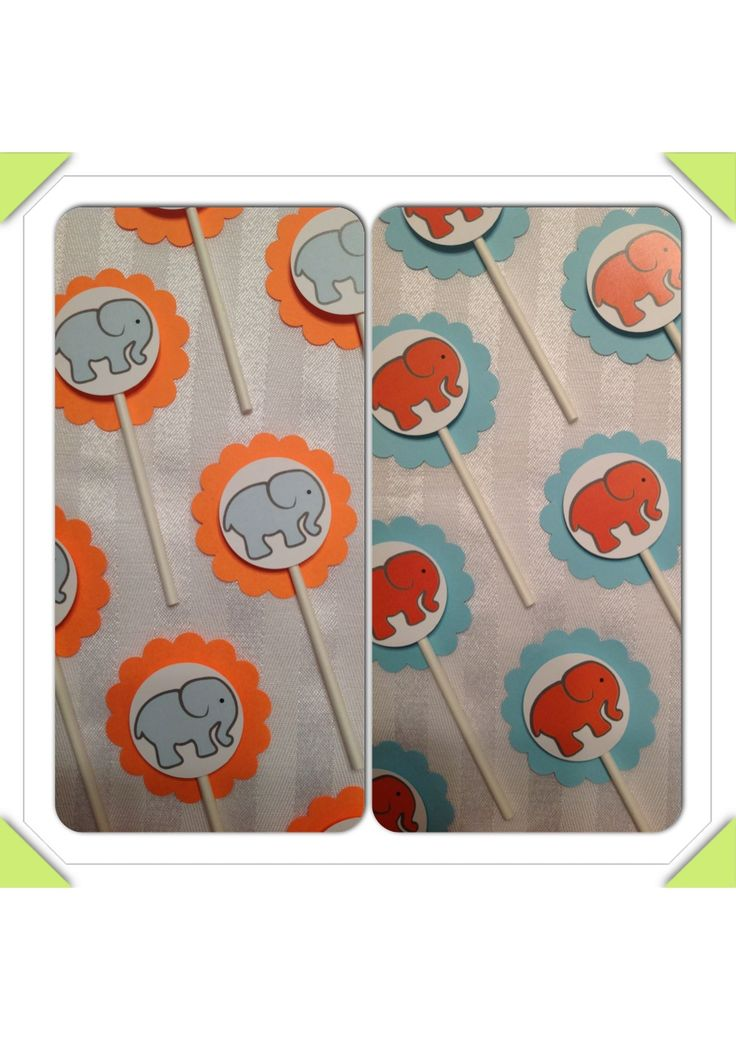 Baby elephant cupcake toppers for an orange & aqua baby shower. Contact us for your custom toppers to match your theme/event: Perfectlittleadditions@yahoo.ca. Find us on Facebook: facebook.com/perfectlittleadditions.