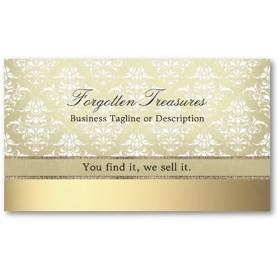 Elegant vintage golden look damask pattern business card with golden background for antique shops, vintage boutiques, fine photographers, beauticians and many other businesses. Pack of 100: $21.05 #business #damask