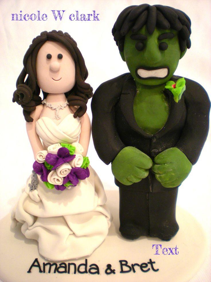 Hulk Wedding Cake topper.  Marvel Super Hero cake tops custom made for weddings by Nicole W Clark.  www.nicolewclark.com  #grooms cake #marvel wedding #superhero cake
