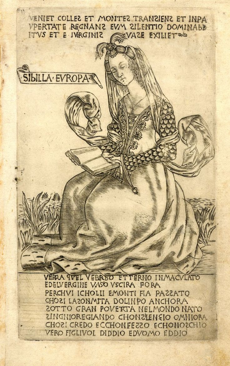 The European Sibyl, sitting on the ground, she is holding and reading a book.  c.1470-80 Engraving
