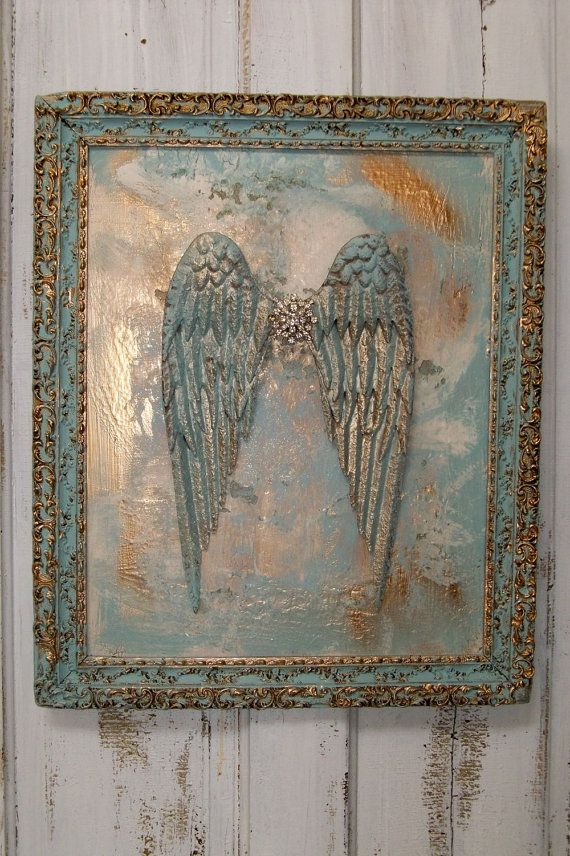 Framed art 3D metal wings blues and golds by AnitaSperoDesign, $320.00