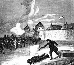 On January 9 many prisoners escaped from the prison at Fort Garry, including Charles Mair, Thomas Scott and ten others. Red River Rebellion --Scott was executed by a firing squad on March 4, 1870. Historians have debated Riel's motivations for allowing the execution, as they consider it his one great political blunder. His own justification was that he felt it necessary to demonstrate to the Canadians that the Métis must be taken seriously