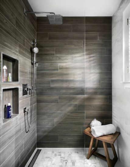 Wood Panel Look Alike Tile Inside This Shower Design
