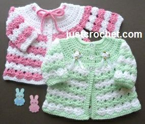 Free baby crochet pattern for newborn coat http://www.justcrochet.com/newborn-coat-usa.html #justcrochet