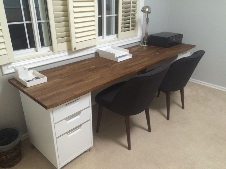Double Desk: 98 Inch Oak IKEA Numerar Butcher Block With Walnut  Stain/finish, Two CB2 File Cabinets In White, Threshold Modern Anywhere  Chairs In Gu2026