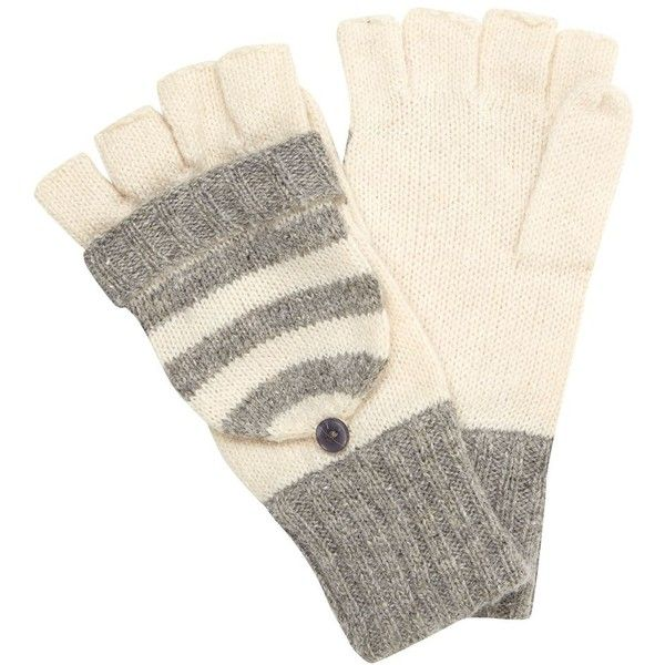 Grey and Cream Stripe Flip Top Gloves ($1.30) ❤ liked on Polyvore featuring accessories, gloves, striped gloves, gray gloves, grey gloves, cream gloves and ball gloves