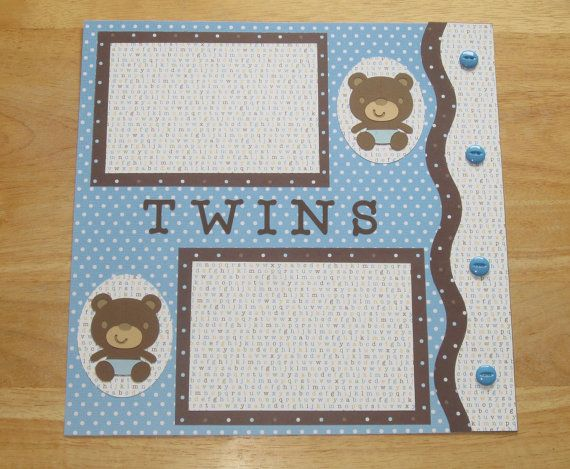 Baby Boy Twins Scrapbook Page  Baby Boy Twins by AngelBDesigns4You